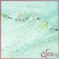 Light blue applique designs laser cut floral mesh lace fabric