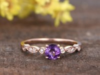 0.5 Carat Round Amethyst Diamond Engagement Ring 14k Rose Gold Art Deco Milgrain Stacki...