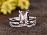 1.2 Carat Emerald Cut Morganite Wedding Set 14k White Gold Diamond Bridal Ring Loop Inf...
