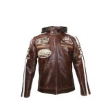 Crunch Split Brown Biker Jacket USI-8835