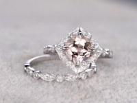 2pcs 8mm Morganite Bridal Ring Set,Art Deco Engagement ring White gold,Diamond wedding...