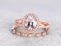 2pcs Bridal set,7x9mm Morganite Engagement ring rose gold,Diamond wedding band,14k,Oval...