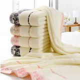 Beige Large Beach Towel Terry Hammam Towels Cloud Pattern Embroidered for Bath Shower...