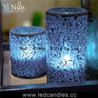 Christmas decoration flameless glass Mosaic candle holder 2pcs set
