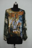 New style euramerican fashion printed widely ladies pullover