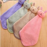 Smiling Face Hanging Hand Towels Kitchen Towel Coral Velvet Absorbent Lint-Free Cloth...