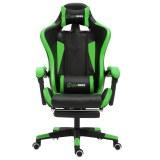 Herzberg HG-8080: Chaise de jeu ergonomique de style course Vert