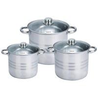 Royalty Line RL-SP4: Ensemble de 6 pots en acier inoxydable avec couvercles en verre