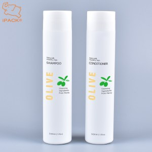 Wholesale empty cylinder 300ml 10oz soft touch HDPE plastic shampoo and conditioner bottle
