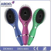 Women's Beautiful Soft Trendy Black Fashion Electronic Massaging Therapy Round Hair Brush