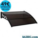 Auvent de porte Noir 120 x 100 cm LIVRAISON GRATUITE