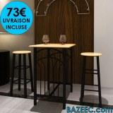 Table haute de bar avec 2 tabourets LIVRAISON GRATUITE