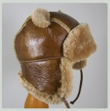 Chapka Hat Cordero de cuero y piel natural Cordero