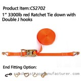 """CS2702 1"""" 3300lbs red Ratchet Tie down with Double J hooks"""