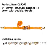 "CS5005 2"" 50mm 10000lbs Ratchet Tie down with double J Hooks"