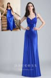 Empire Waist Pleated Royal Blue Satin Prom Dress
