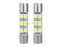Auto LED Lampe T6.5/T6.3 29mm 6x3528 warmes Weiss 2 Set Silber