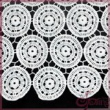 White circle embroidered guipure lace fabric