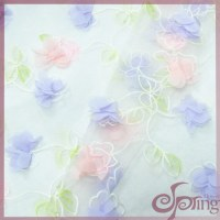 Multicolor laser flower embroidery tulle lace organza fabric