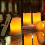 Recargable LED vela de cera set de 4pcs con remoto control