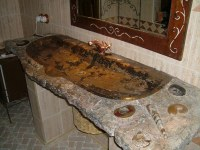 Lavabo sólo mármol fosilizado