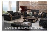 El sofá clásico del sofá de cuero fija los muebles de madera TI-003 de la sala de estar...