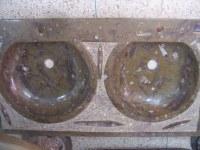 Lavabo de mármol fosilizado doble