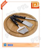 PP-handle cheese knife&soatula with bamboo chopping board(4 pieces)