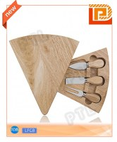 Fan-shaped swiveling wooden cheese set(4 pieces)