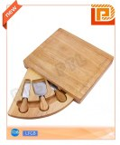 Retangular 4-piece cheese set with fan-shaped rotatable tray