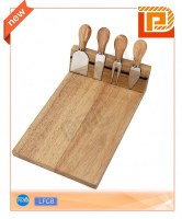 Rubber wood magnetic cheese set with long chopping board(5 pieces)