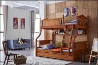 Literas de madera de roble Muebles jardín de infancia con escaleras para niños juegos...