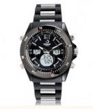 Montre type chrono avec 3 cadrans digital. bracelet en silicone (noire)