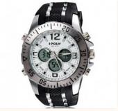 Montre chrono tendance, mixte avec bracelet noir en silicone