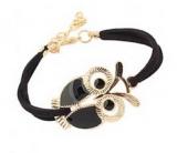 Bracelet bijoux fantaisie, orne d'un hiboux . ( 4 couleurs )