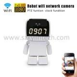 Robot wifi cctv ip cámara inalámbrica con reloj despertador
