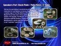 Partes del altavoz: placa trasera y horquillas fabricadas en Taiwán
