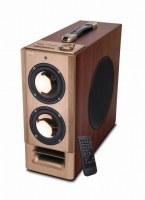 Powerful 2.1 channel speaker in one wooden cabinet