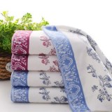 Chinese Style Cyan Flowers Porcelain Bathroom Face Towel 100%cotton Soft Water Beach To...